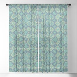 EMERALD cubic green prisms in abstract repeat pattern Sheer Curtain