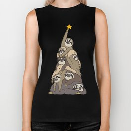 Christmas Tree  Sloths Biker Tank