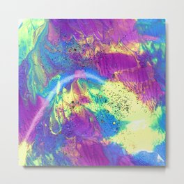 Abstract Fluid Painting with Glitter in Purple Blue and Neon Yellow Metal Print
