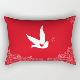 Wings of Love - Red Rectangular Pillow