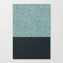 Dark navy dots on turquoise Canvas Print