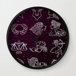 twelve zodiac constellation horoscope signs Wall Clock