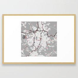 Minimalist Modern Map of  Jerusalem, Israel Framed Art Print