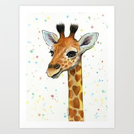 Giraffe Baby Animal with Hearts Watercolor Cute Whimsical Animals Nursery Art Print