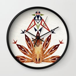 Fox with 7 tails Wall Clock