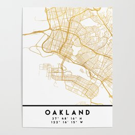 OAKLAND CALIFORNIA CITY STREET MAP ART Poster