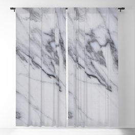 Marble - Black and White Gray Swirled Marble Design Blackout Curtain