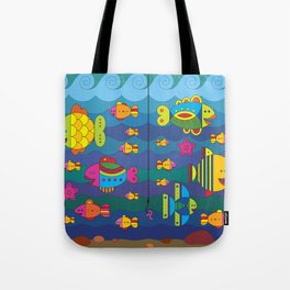 Concept with stylize fantasy fishes under water. Tote Bag