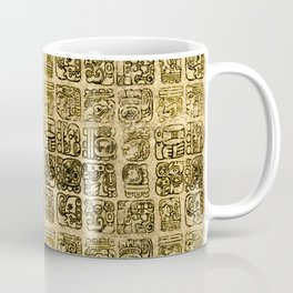 Mayan and aztec glyphs gold on vintage texture Coffee Mug