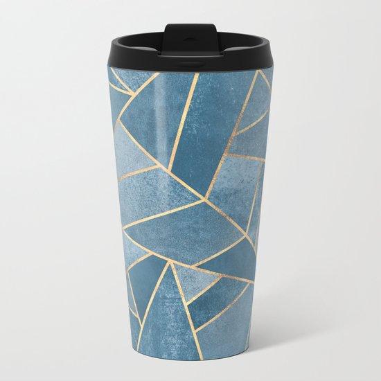 Dusk Blue Stone Metal Travel Mug