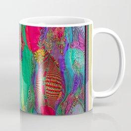 EMBROIDERED ASIAN FABRIC FANTASY COLLAGE Coffee Mug