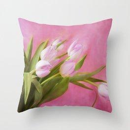 Graceful Pink Tulips Throw Pillow
