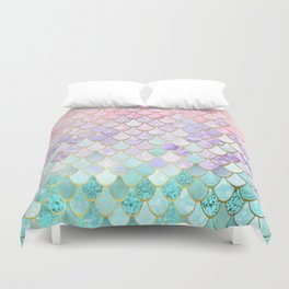 Iridescent Mermaid Pastel and Gold Duvet Cover