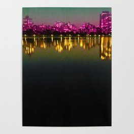 Long Night Water Reflection New York City Poster