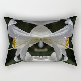 Aesthetic abstract mirroring fractal lily covered by raindrops Rectangular Pillow