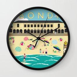 Bondi Beach Vintage Style Art Print Wall Clock