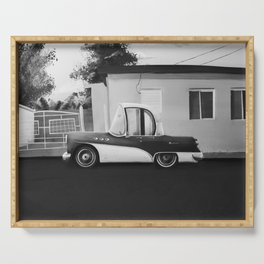 The Cuban Kingpin - Vintage car in the streets of Cuba (black & white) Serving Tray