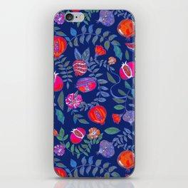 Pomegranate pattern electric blue iPhone Skin