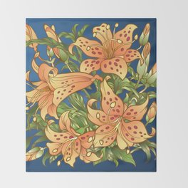 Tiger Lily Flowers Throw Blanket