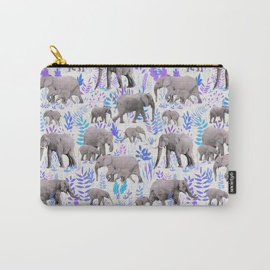 Sweet Elephants in Aqua, Purple, Cream and Grey Carry-All Pouch