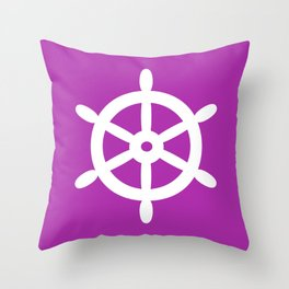 Ship Wheel (White & Purple) Throw Pillow