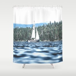 Calm Lake Sailboat Shower Curtain