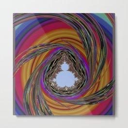 orange, purple, PSYCHEDELIC SPIRAL, MANDELBROT fractal Metal Print