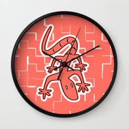 LIVING CORAL LIZARD ON THE WALL GRAPHIC ARTWORK Wall Clock