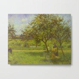 Camille Pissarro - The Wheelbarrow in the Orchard, Le Valhermeil, Auvers-sur-Oise Metal Print
