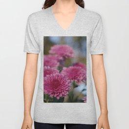 Rosy Chrysanthemum with gold leaves, blue sky Unisex V-Neck