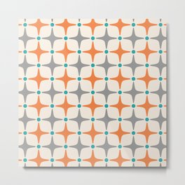 Mid Century Modern Star Pattern Grey and Orange Metal Print