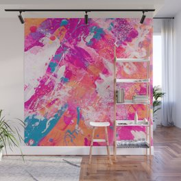 Vibrant Colorful Abstract Splatter Painting with Glitter Wall Mural