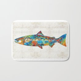 Fish Art Print - Colorful Salmon - By Sharon Cummings Bath Mat
