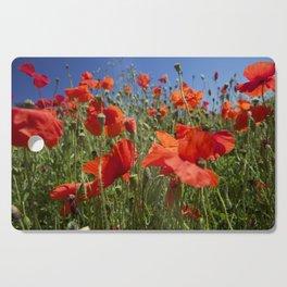 Red Poppy field Cutting Board
