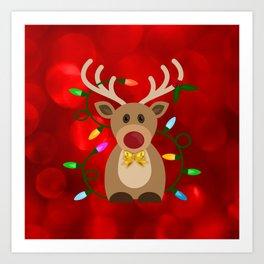 Christmas Reindeer in Lights Art Print