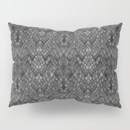 Abstract and faux crocodile skin .Texture Dark gray . Pillow Sham