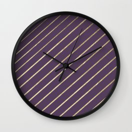 Elegant faux gold purple modern geometrical Wall Clock