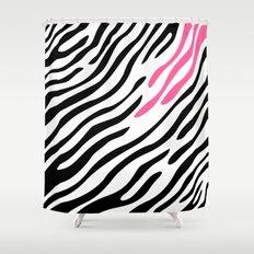 Zebra print. Pink Shower Curtain
