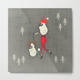 Merry Poodle Christmas! Metal Print