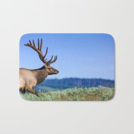 A 6 Point Bull Elk in Yellowstone National Park Bath Mat
