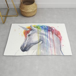 Rainbow Unicorn Watercolor Rug