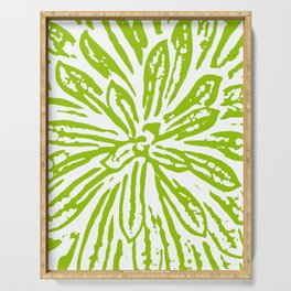 Chartreuse Flower Linocut Textile Serving Tray