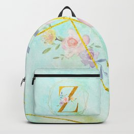 Gold Foil Alphabet Letter Z Initials Monogram Frame with a Gold Geometric Wreath Backpack