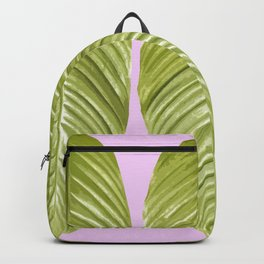 Three large green leaves on a pink background - vivid colors Backpack