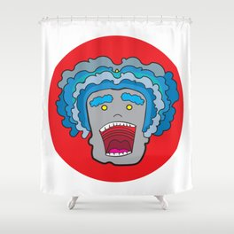 Blue haired waves Shower Curtain