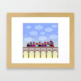 A train with Christmas gifts Framed Art Print