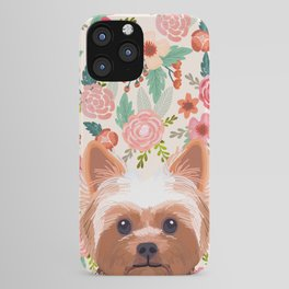Yorkshire Terrier floral dog portrait pink cute art gifts for yorkie dog breed lovers iPhone Case