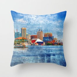 Baltimore Skyline from Locust Point, Pastel Cityscape, Charm City, Maryland Throw Pillow
