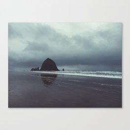 Haystack Rock in Winter Canvas Print