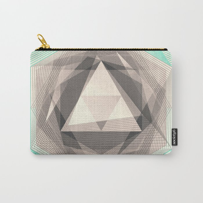 Jewel Lines 2 - Jade & Charcoal Carry-All Pouch